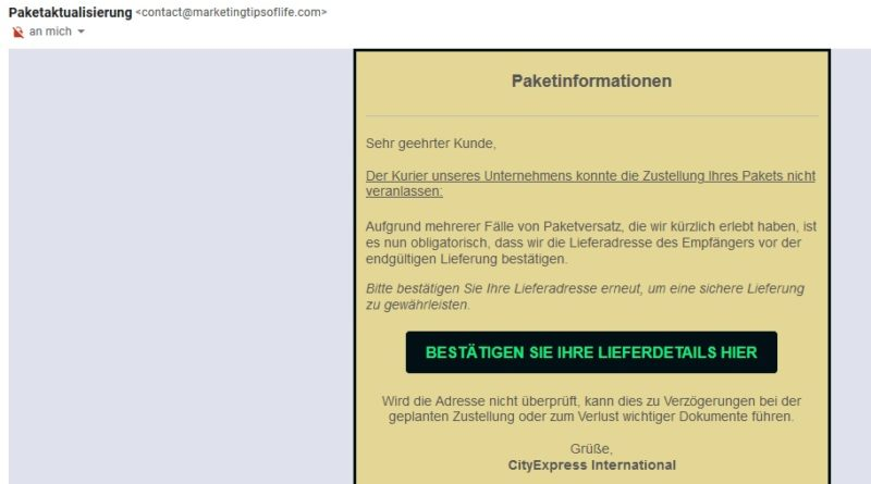 Fake-Paketzustellung (Screenshot)
