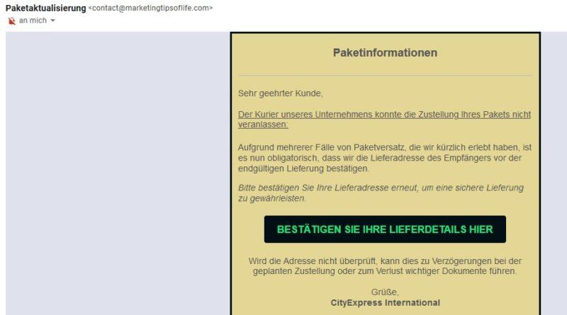 Fake-Paketzustellung (Screenshot)