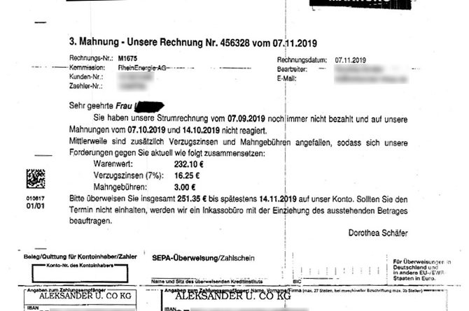 Fake-Mahnung des Inkassos Aleksander & Co KG (Screenshot: Verbraucherzentrale NRW)