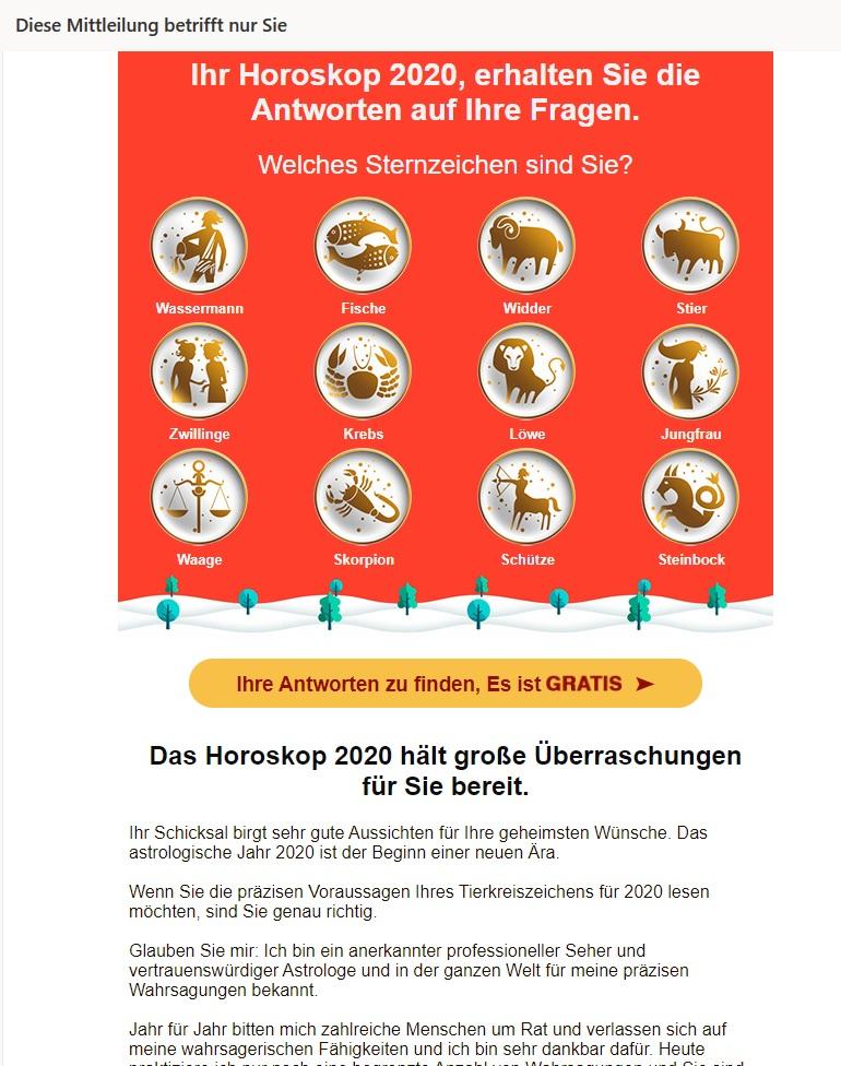 Mail von Hellseher Chris (Screenshot)