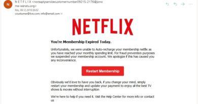 "Netflix-Phishing: ""You're Membership Expired Today"" (Screenshot)"
