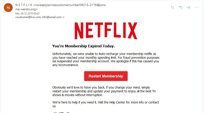 "Netflix-Phishing: ""You're Membership Expired Today"" (Screenshot)"