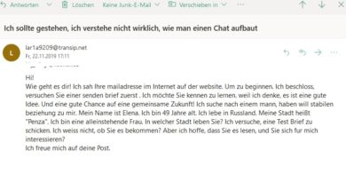 Romance Scam von Elena (Screenshot)