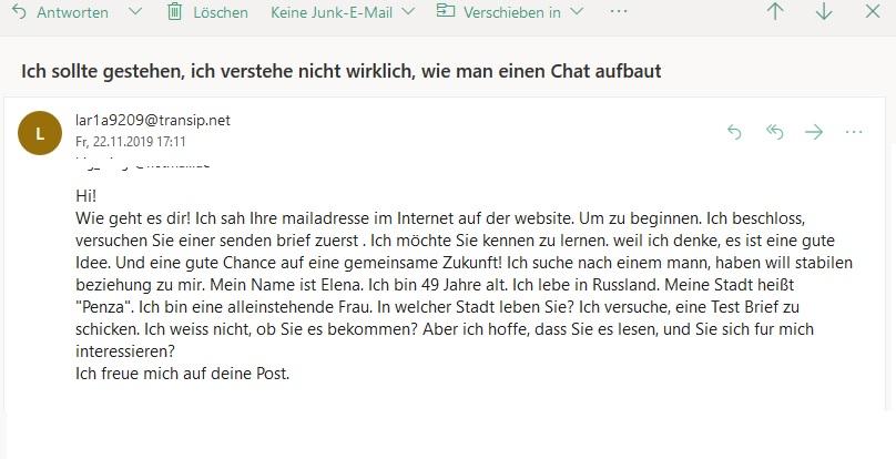 Romance Scam von Elena (Screenshot)
