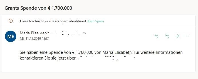 Unerwartete Geldspende per E-Mail (Screenshot)