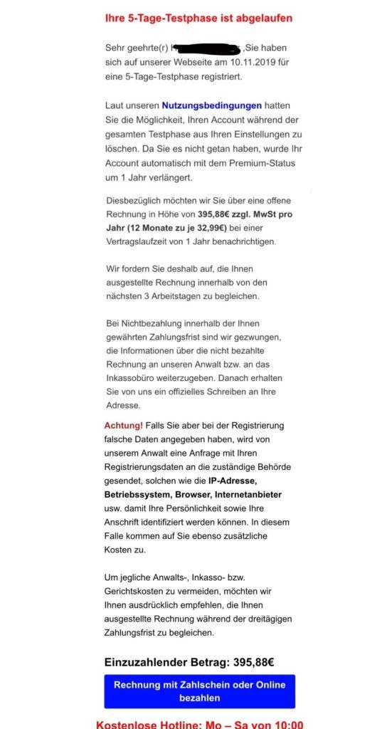 Vorsicht: Streamabi.de-Rechnung (Screenshot)