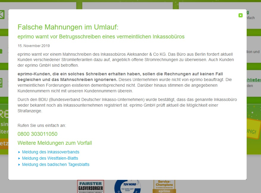 eprimo-Warnung (Screenshot eprimo.de/service)