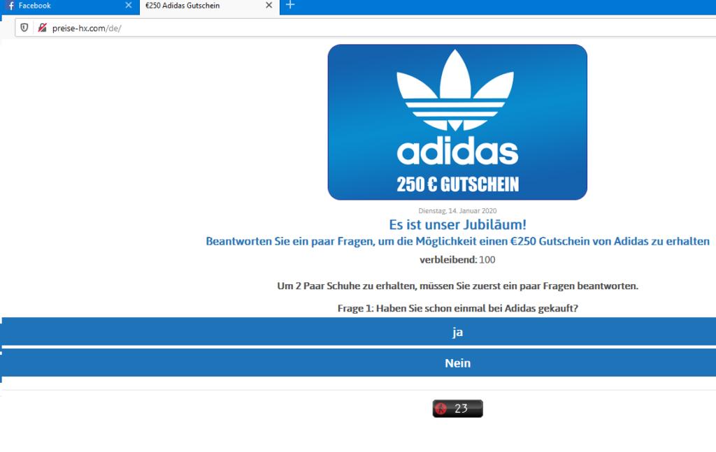 Adidas-Fake-Gewinnspiel (Screenshot)