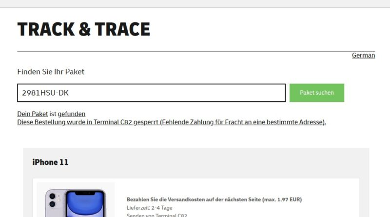 CityExpress-Fake Abofalle Tracking (Screenshot)