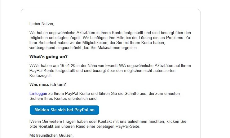 Gefährliches PayPal-Phishing (Screenshot)