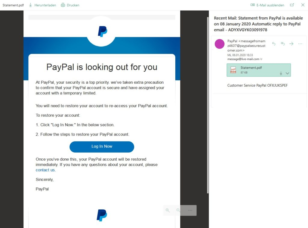 "PayPal-Phishing: ""PayPal is looking out for you"" (Screenshot)"