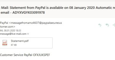 PayPal-Phishingmail (Screenshot)