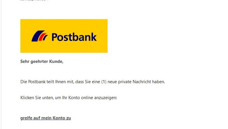 "Postbank-Phishing: ""neue private Nachricht"" (Screenshot)"