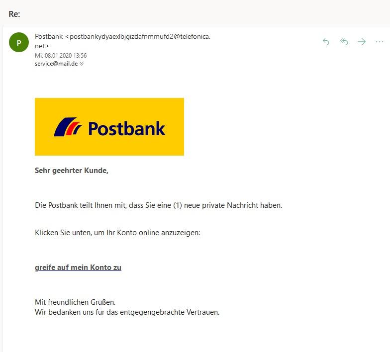 """Postbank-Phishing: """"neue private Nachricht"""" (Screenshot)"""