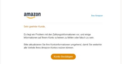 Schlechtes Amazon-Phishing (Screenshot)