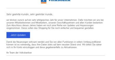 Volksbank-Phishing zum Jahreswechsel (Screenshot)