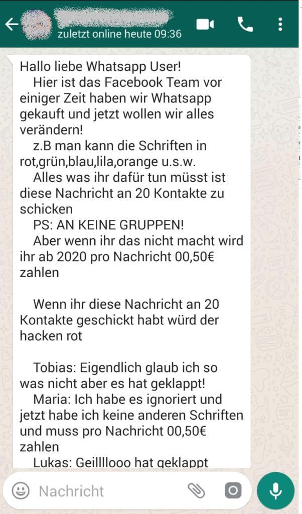 WhatsApp-Nachricht zu neuen Kosten (Screenshot)