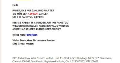 Abofalle: DHL-Sendungsbenachrichtigung (Screenshot)