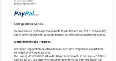 """Achtung, PayPal-Fake: """"Sie müssen ein Problem lösen"""" (Screenshot)"""