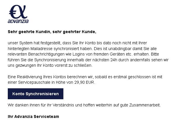 """Advanzia-Phishing: """"Synchronisierung Ihrer Mailadresse"""" (Foto: verbraucherzentrale.nrw)"""