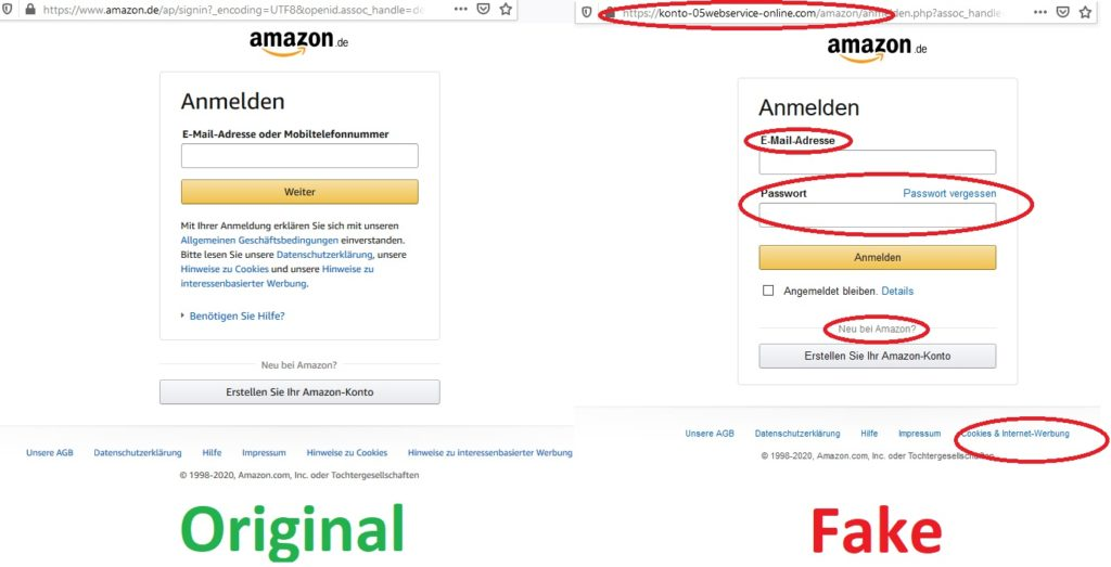 Amazon-Log-In Original und Fake (Screenshots)