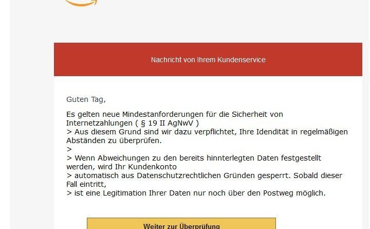 Amazon-Phishing - Sicherheit von Internetzahlungen (Screenshot)