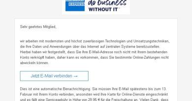 American-Express-Phishing: Vorsicht! (Screenshot verbraucherzentrale.nrw)