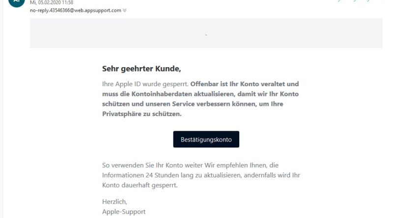 Apple-Phishing: Neuer Kontoauszug hinzugefügt (Screenshot)