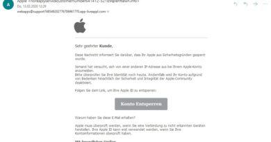 """Achtung, Apple-Phishing: """"Diese Nachricht informiert Sie"""" (Screenshot)"""