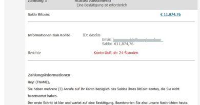 BitCoin-Konto: Bestätigung ist erforderlich (Screenshot)