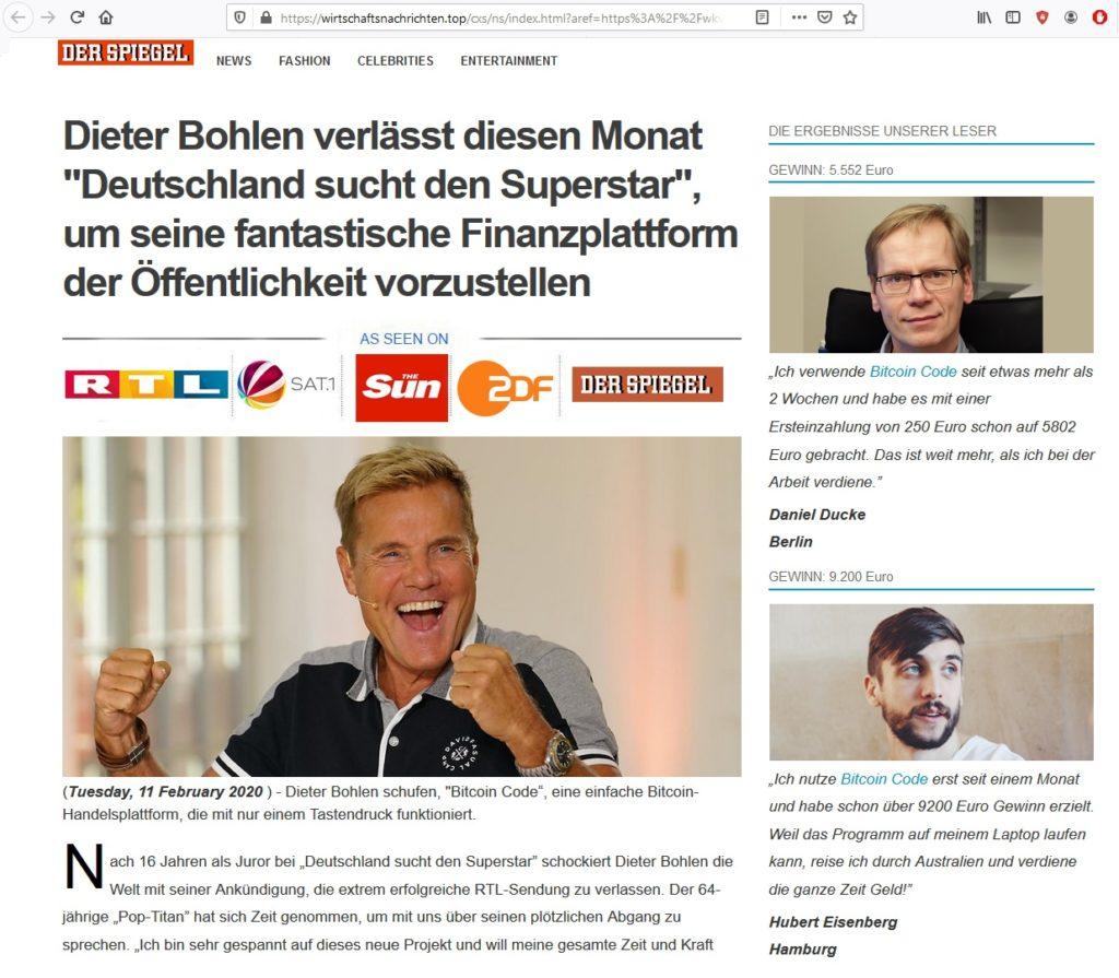 Bitcoin-Spam mit Dieter Bohlen und Der Spiegel (Screenshot)