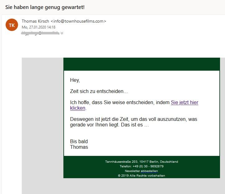 Bitcoin-Spam (Screenshot)