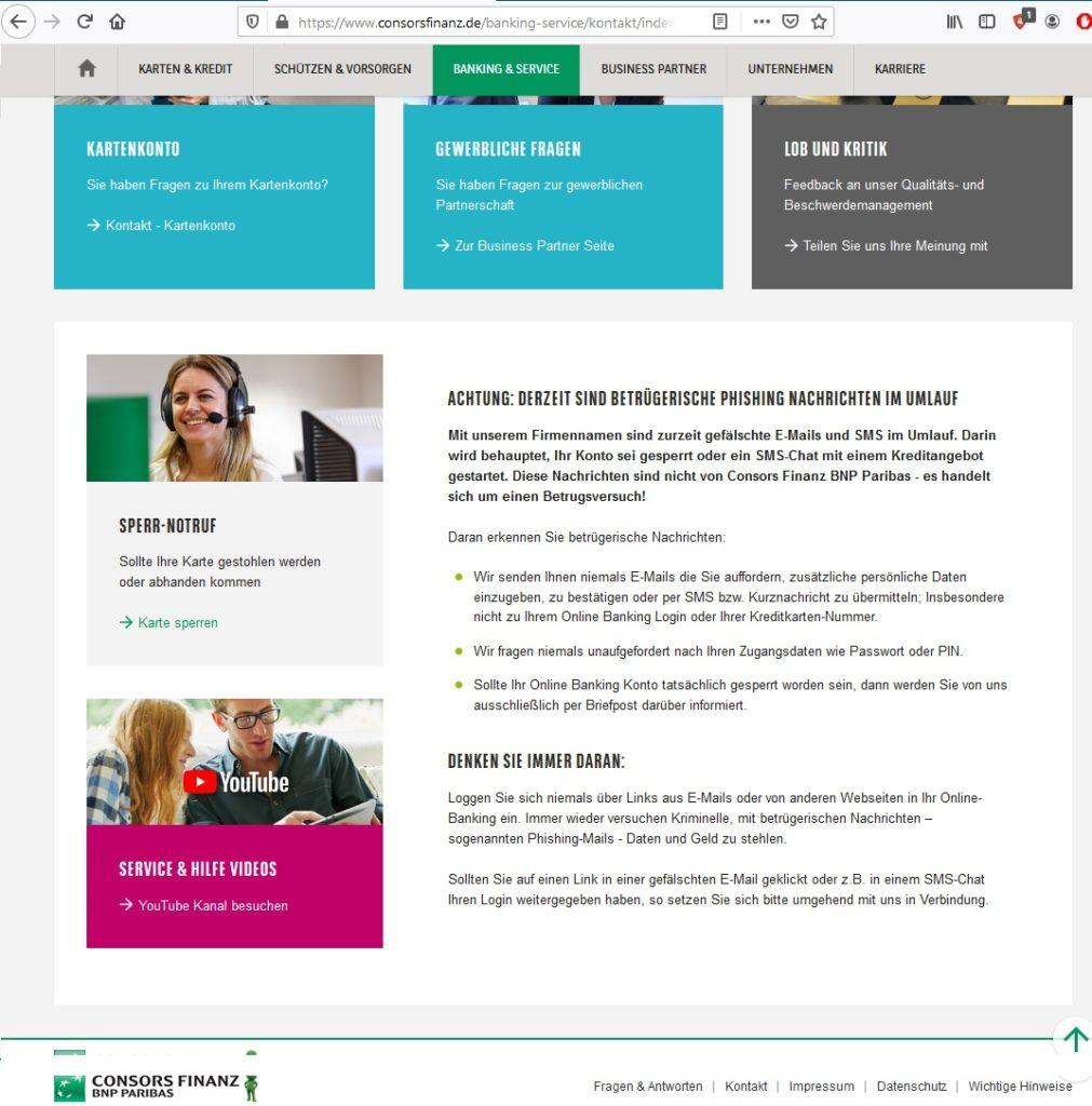 Consors Finanz warnt (Screenshot consorsfinanz.de)