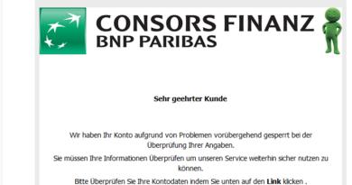ConsorsFinanz-Phishing: Probleme mit Ihrem konto? (Screenshot)