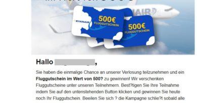 Datensammler locken mit Ryanair-Gutschein (Screenshot)