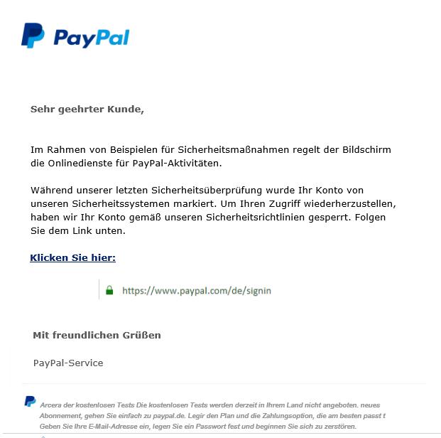 Fake: E-Mail über PayPal-Sicherheitsmaßnahmen (Foto verbraucherzentrale.nrw)