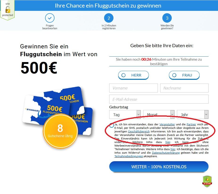 Fluggutschein-Gewinnspiel (Screenshot)