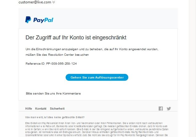 PayPal-Phishing - Achtung! (Screenshot)