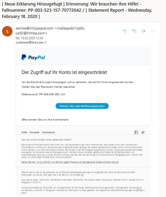 PayPal-Phishing - Achtung! (Screenshot)
