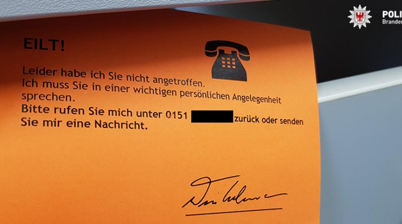 Betrügerische Postkarte (Screenshot facebook.com/polizeibrandenburg)