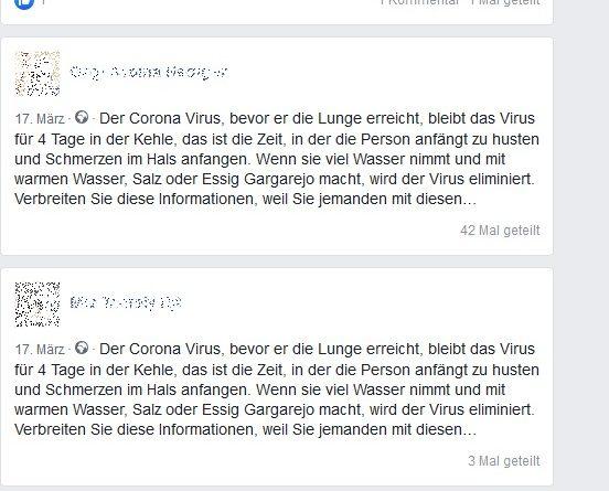 Corona Fake-News: viel Wasser trinken (Screenshot)