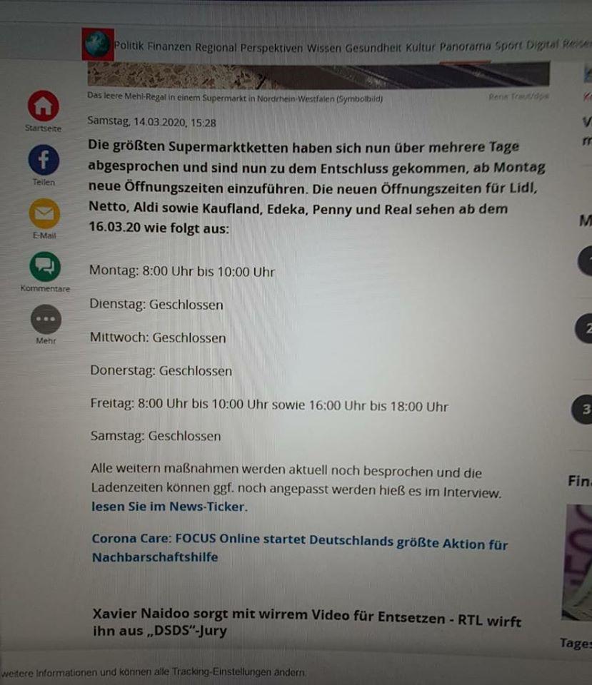 Coronavirus: Supermarktketten-Schließungen? (Screenshot)