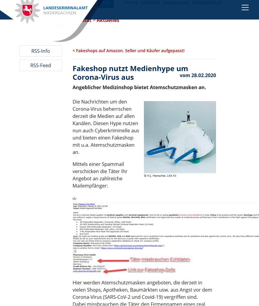 Landeskriminalamt (LKS) Niedersachsen warnt vor Coronavirus-Fake-Shops (Screenshot polizei-praevention.de/aktuelles/fakeshop-nutzt-medienhype-um-corona-virus-aus.html)