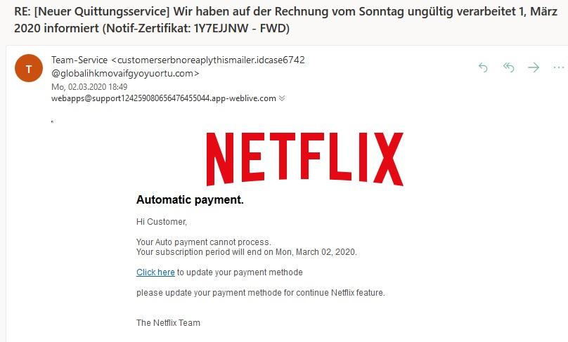 """Netflix-Phishing: """"Rechnung vom Sonntag ungültig verarbeitet"""" (Screenshot)"""