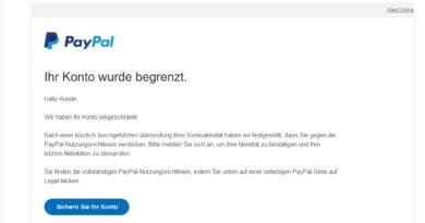 """PayPal-Phishing: """"Ihr Konto wurde begrenzt."""" (Screenshot)"""