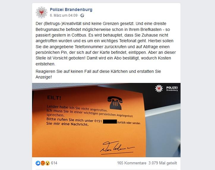 Polizei Brandenburg warnt vor betrügerischer Postkarte (Screenshot facebook.com/polizeibrandenburg)