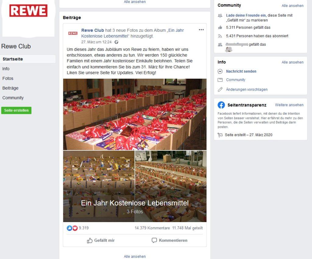 Rewe-Gewinnspiel: Ein Jahr Kostenlose Lebensmittel (Screenshot)
