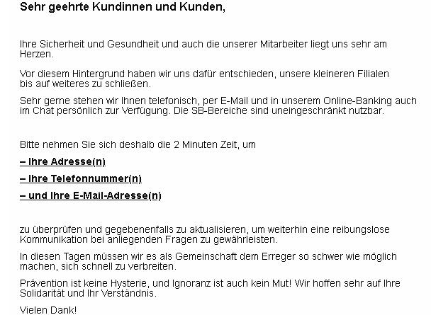 "Sparkasse-Phishing: ""Umgang mit dem COVID-19-Erreger"" (Screenshot verbraucherzentrale.nrw)"