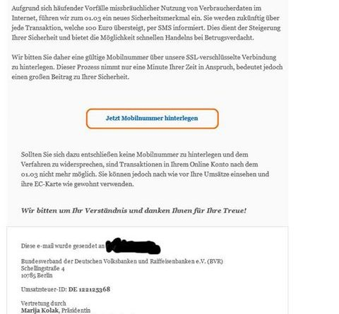 "VR-Phishing: ""neue Sicherheitsmerkmale zum 01.03."" (Screenshot)"