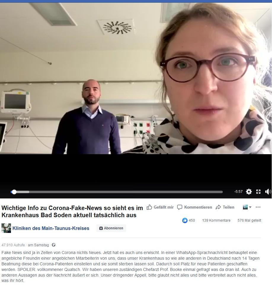 WhatsApp-Sprachnachricht über Krankenhaus Bad Soden (Screenshot Kliniken des Main-Taunus-Kreises)